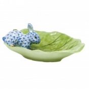 Herend Bunny on Cabbage Leaf Blue