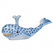 Herend Baby Whale w/ Spout - Blue