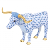 Herend Texas Longhorn - Blue