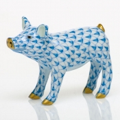 Herend Smiling Pig - Blue