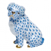 Herend Sitting Pug - Blue