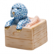 Herend Puppy In Crate - Blue