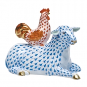 Herend Sheep w/ Rooster - Blue with Rust