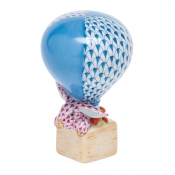 Herend Hot Air Balloon Bunny - Blue / Raspberry