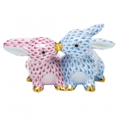 Herend Kissing Bunnies - Raspberry & Blue