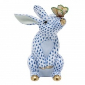 Herend Bunny w/ Butterfly Sapphire