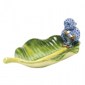 Herend Monkey on Banana Leaf - Sapphire