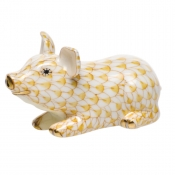 Herend Little Pig Lying - Butterscotch