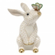 Herend Bunny w/ Butterfly Butterscotch