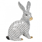 Herend Large Sitting Bunny - Black