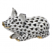 Herend Little Pig Lying - Black