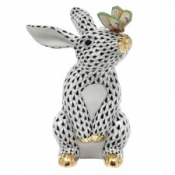 Herend Bunny w/ Butterfly Black