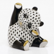 Herend Playful Panda Black