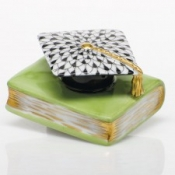 Herend Graduation Cap Black Hat on Key Lime Book