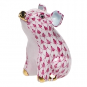 Herend Little Pig Sitting - Raspberry