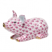 Herend Little Pig Lying - Raspberry