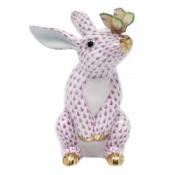 Herend Bunny w/ Butterfly Raspberry