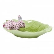 Herend Bunny on Cabbage Leaf Raspberry