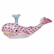 Herend Baby Whale w/ Spout - Raspberry