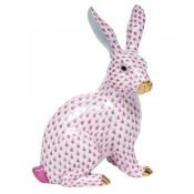 Herend Large Sitting Bunny - Raspberry