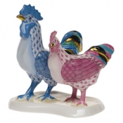 Rooster & Hen Rooster Blue + Hen Pink