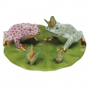 Herend Frogs On Lily Pad - Raspberry & Lime Green