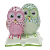 Herend Pair of Owls on Book Raspberry & Key Lime