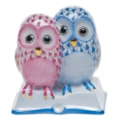 Herend Pair of Owls on Book Raspberry & Blue