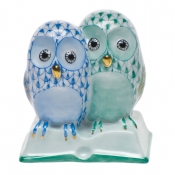 Herend Pair of Owls on Book Blue & Green