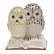 Herend Pair of Owls on Book Butterscotch & Chocolate