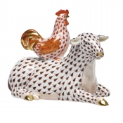 Herend Sheep w/ Rooster - Chocolate with Rust