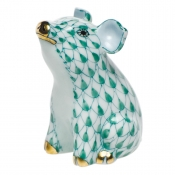 Herend Little Pig Sitting - Green