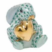 Herend Bunny w/ Heart Green