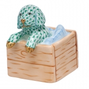 Herend Puppy In Crate - Green