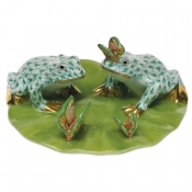 Herend Frogs On Lily Pad - Green