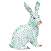 Herend Large Sitting Bunny - Green