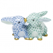 Herend Kissing Bunnies - Blue & Green