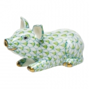 Herend Little Pig Lying - Key Lime