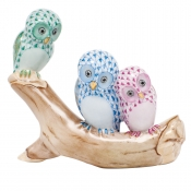 Herend Owls on Branch - Green / Blue / Raspberry