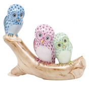 Herend Owls on Branch - Blue / Raspberry / Key Lime