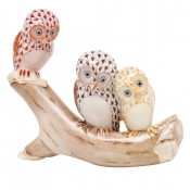 Herend Owls on Branch - Rust / Chocolate / Butterscotch