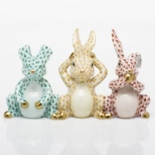 Herend Three Wise Bunnies Multicolor