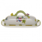 "Queen Victoria BUTTER DISH W/BRANCH  8.5""L"