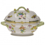 "Queen Victoria TUREEN W/BRANCH  (2 QT) 9.5""H"