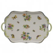 Queen Victoria Blue Border REC TRAY W/BRANCH HANDLES BLUE