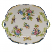 Queen Victoria Blue Border SQ CAKE PLATE W/HANDLES - BLUE