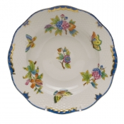 "Queen Victoria Blue Border RIM SOUP PLATE - BLUE 8""D"