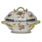 Queen Victoria Blue Border TUREEN W/BRANCH - BLUE (2 QT)