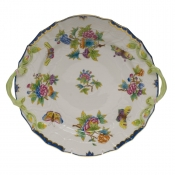 Queen Victoria Blue Border CHOP PLATE W/HANDLES - BLUE 12
