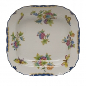 "Queen Victoria Blue Border SQUARE FRUIT DISH - BLUE 11""SQ"
